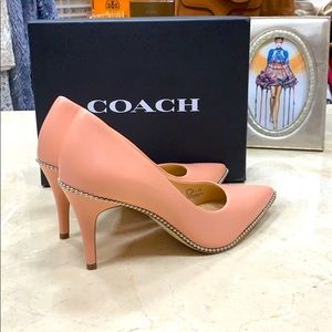 COACH PARKER SILVER BALL CHAIN PUMP IN PETAL PINK